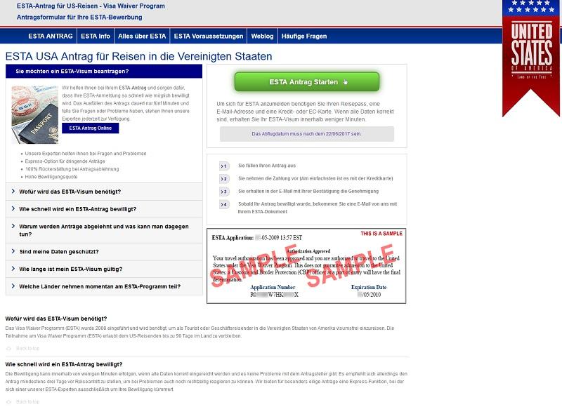 USA-Visum-Abzocke auf estas.de (Screenshot: estas.de)