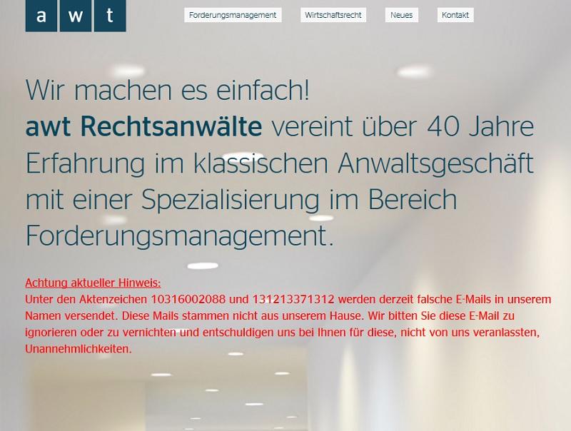 Achtung, Fake-YouPorn-Abmahnung im Umlauf! (Screenshot awt-rechtsanwaelte.de)