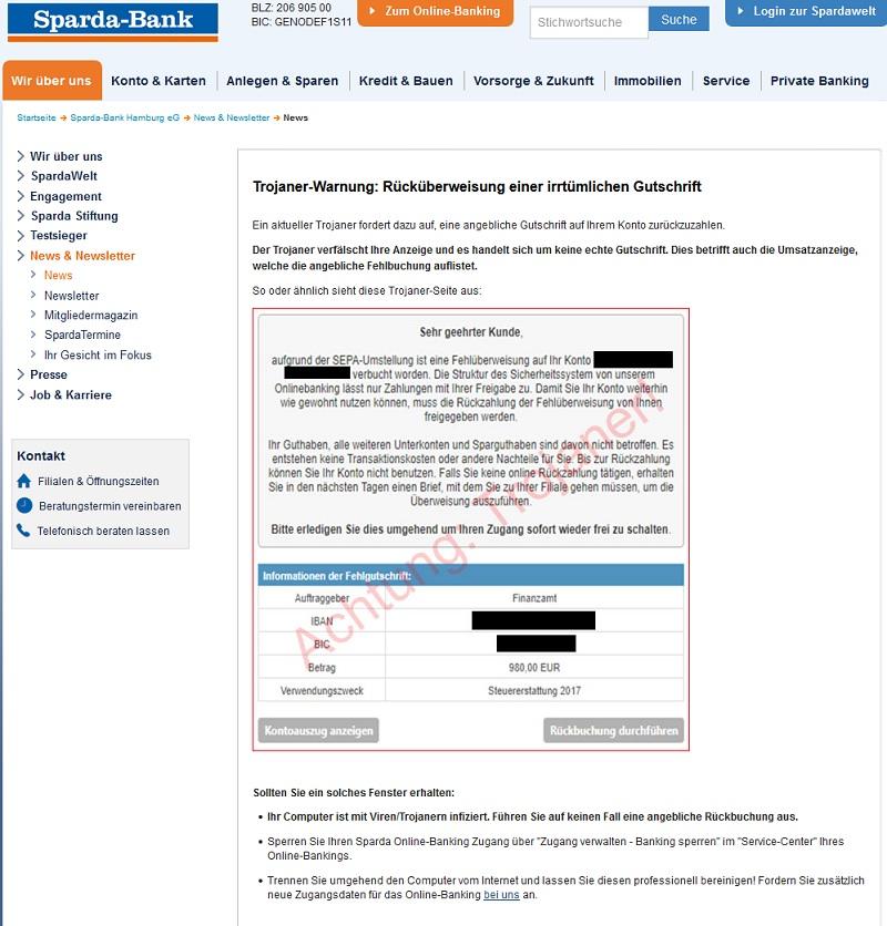 """""""Fehlüberweisung auf Ihr Konto"""" - Achtung, Trojaner (Quelle: Sparda-Bank-Hamburg.de)"""
