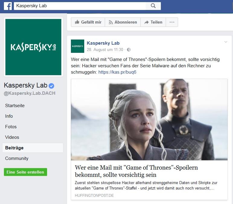 Game of Thrones-Malware im Umlauf (Screenshot Facebook)