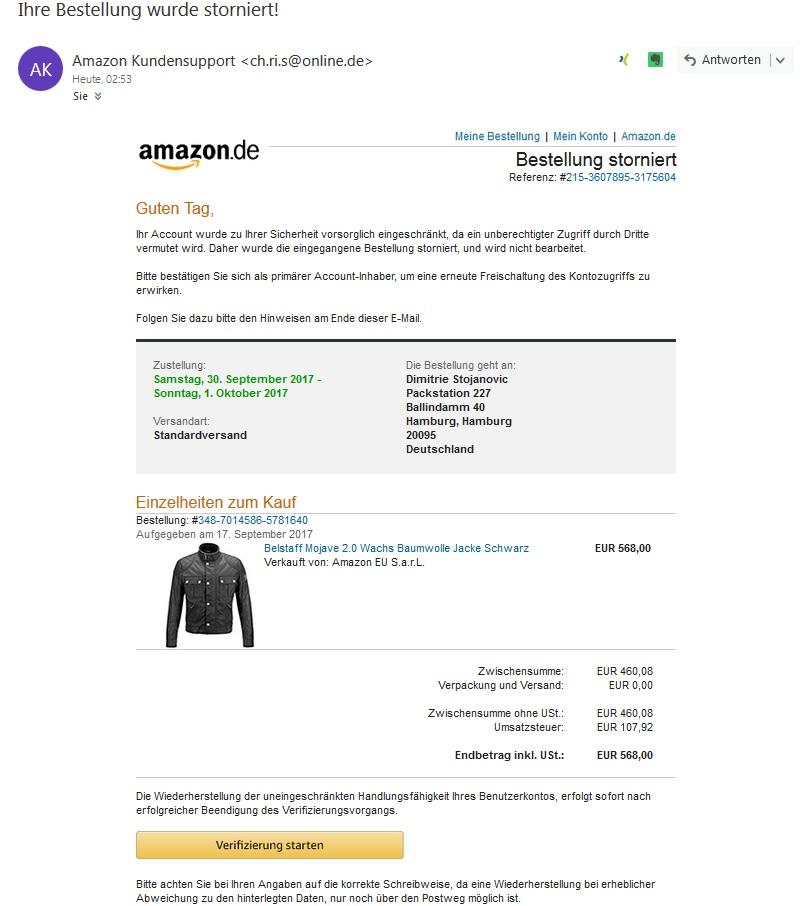 amazon phishing ihre bestellung wurde storniert anti. Black Bedroom Furniture Sets. Home Design Ideas