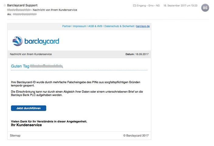Vorsicht, Barclaycard-Phishing (Screenshot)