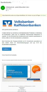 Fake-Mail der Volksbanken Raiffeisenbanken (Screenshot)