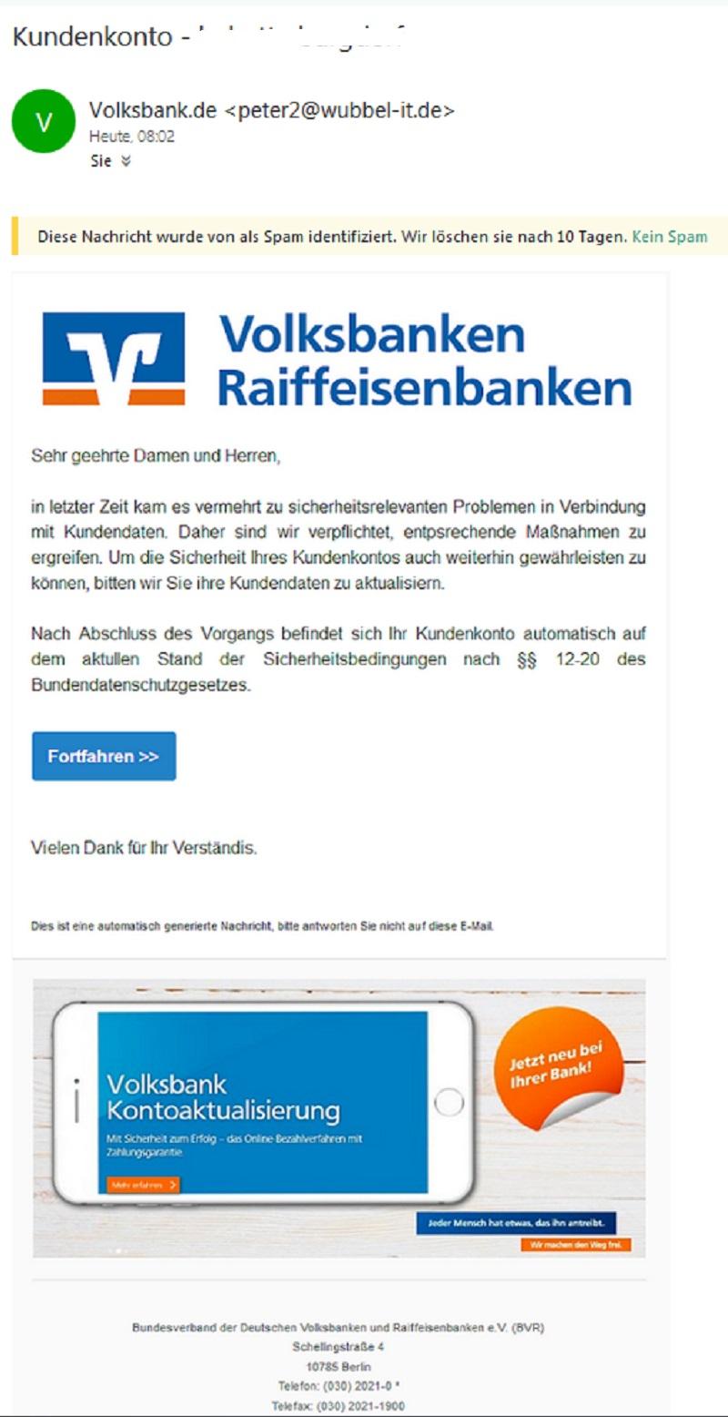 Eine andere Variante einer Fake-Mail der Volksbanken Raiffeisenbanken (Screenshot)