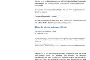 """MediaMarkt-Gutschein: """"Sie sind einer der Finalisten"""""""