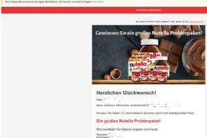 """Vorsicht, Spam-Falle: """"Nutella Probierpaket gewinnen"""""""