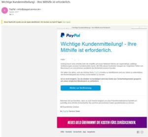 Mal wieder PayPal-Phishing (Screenshot)