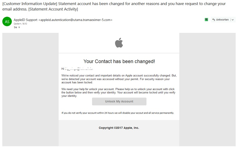 Phishing im Namen von Apple (Screenshot outlook.live.com)
