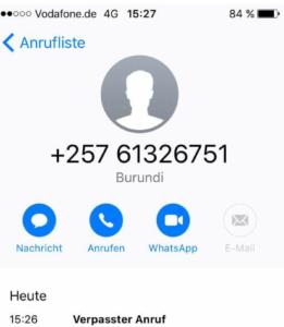 Wer steckt hinter +25761326751? (Screenshot)