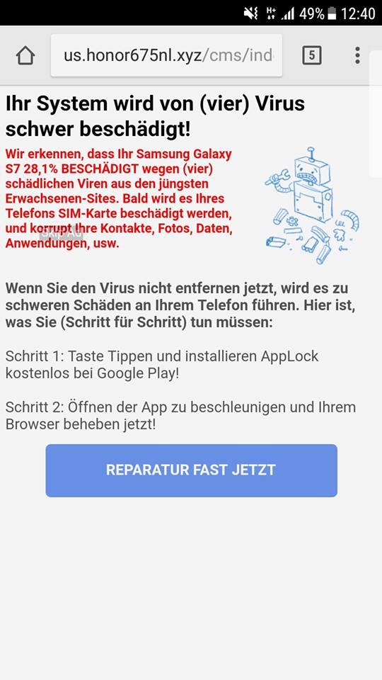 Google-Warnung ist Adware (Screenshot)