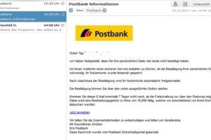 """Postbank-Phishing: """"Ihr Nutzerkonto wurde temporär gesperrt."""""""