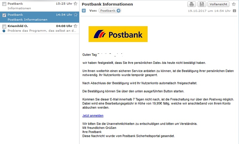 Achtung, Postbank-Phishing (Screenshot)