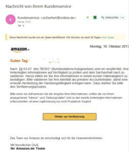 Amazon-Phishing im Umlauf (Screenshot)
