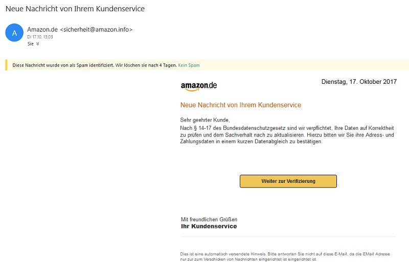 "Amazon-Phishing: ""Nach § 14-17 des Bundesdatenschutzgesetz"" (Screenshot hotmail)"