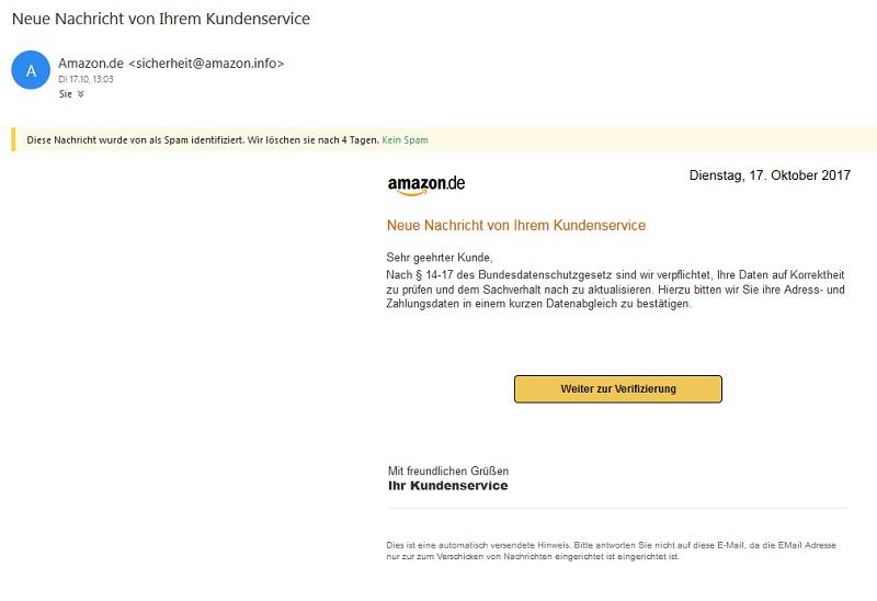 Amazon Pishing Bei Bestellung