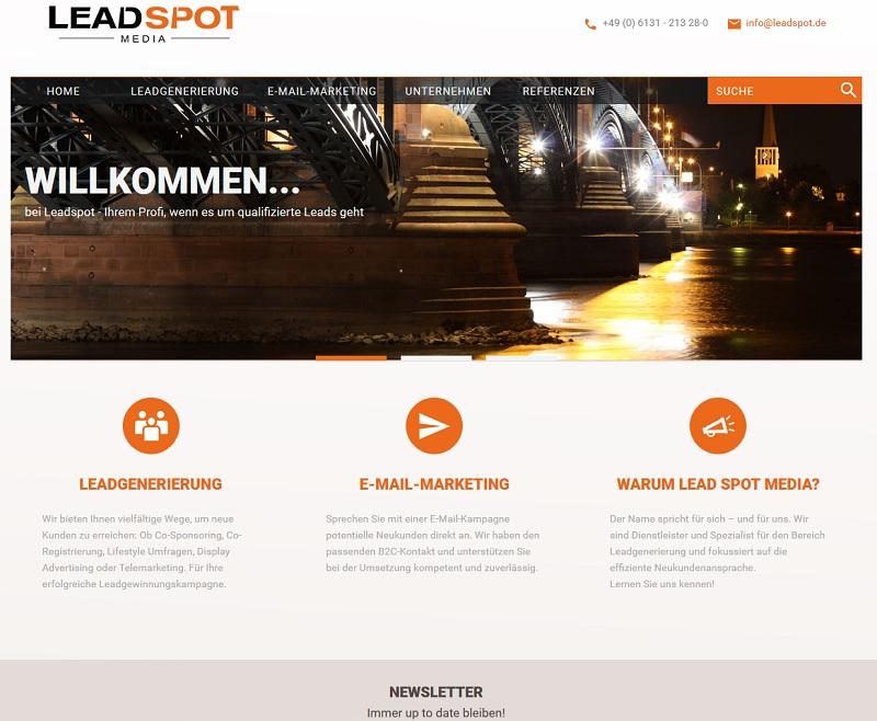 Klage gegen Lead Spot Media GmbH geplant (Screenshot: leadspot.de)
