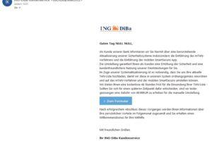 """ING-DIBa-Phishing: """"Neue Nachricht von Ihrem ING-DIBa Kundenservice"""""""