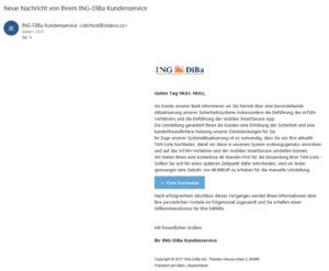 Neue Nachricht von Ihrem ING-DIBa Kundenservice (Screenshot)