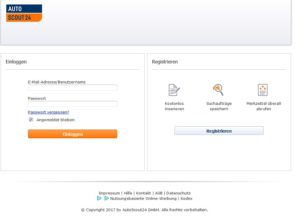 Original Login von Autoscout24.de (Screenshot accounts.autoscout24.com)