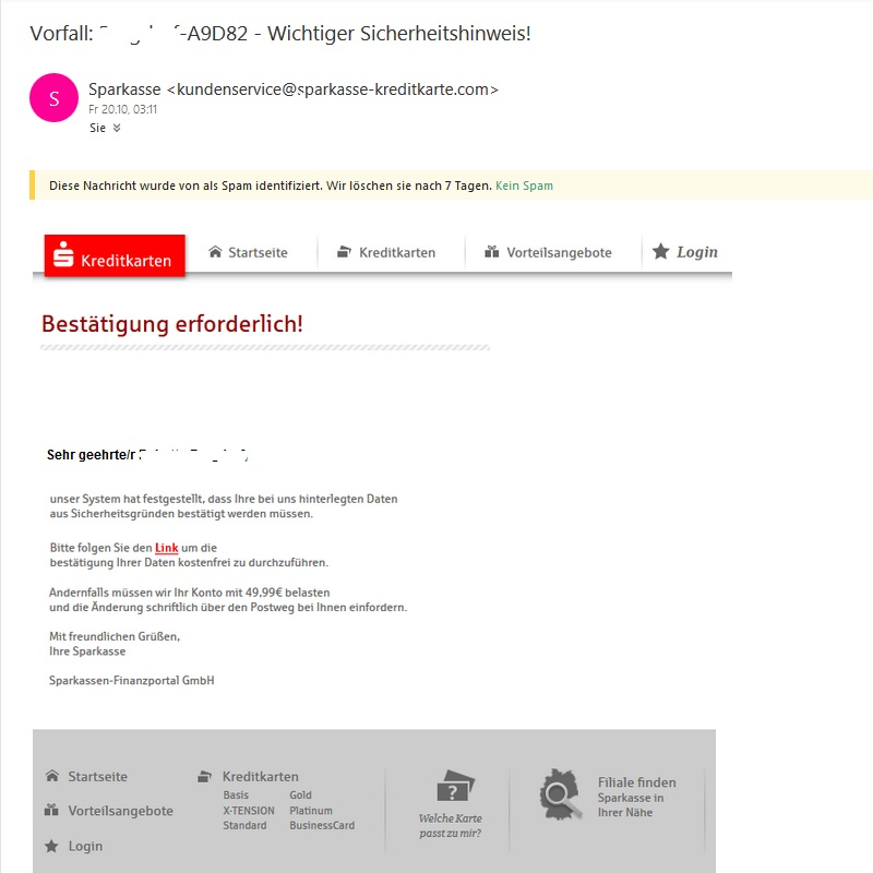 Sparkasse-Phishing, Vorsicht! (Screenshot Outlook)