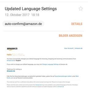 """""""Updatet Language Settings"""" ist Amazon-Phishing (Screenshot eines Lesers)"""