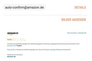 """Updatet Language Settings"" – Achtung, Amazon-Phishing!"