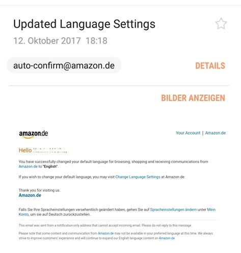 """Updatet Language Settings"" ist Amazon-Phishing (Screenshot eines Lesers)"