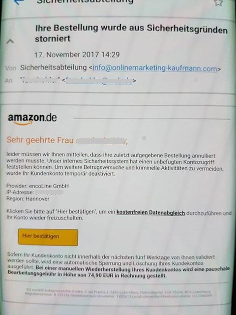 Amazon-Phishing (Screenshot eines Lesers)