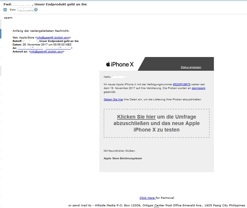 Apple-iPhone-X-Gewinnspiel?! (Screenshot)