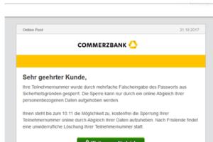 "Commerzbank-Phishing: ""Teilnehmergruppe gesperrt"""