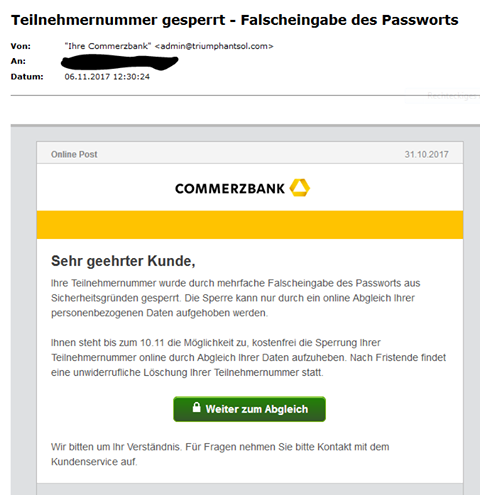Commerzbank-Phishing (Screenshot)