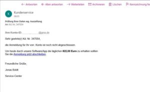 """Fake-Mail: """"Prüfung Ihrer Daten wg. Auszahlung"""" (Screenshot)"""