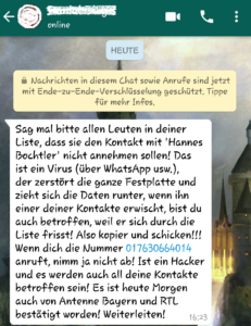 Hannes Bochtler und der WhatsApp-Hoax (Screenshot)