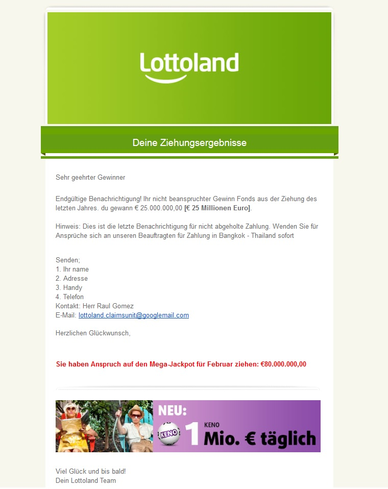 Lottoland-Spam (Screenshot)