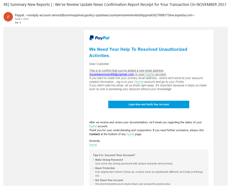 PayPal-Phishing auf englisch (Screenshot)