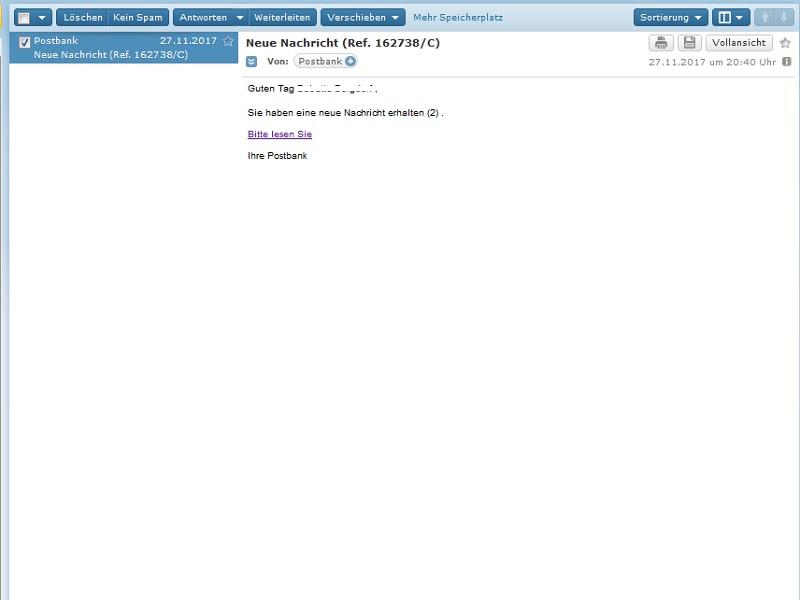 Achtung, Postbank-Phishing (Screenshot)