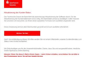 Sparkasse Geseke: Achtung, Phishing!