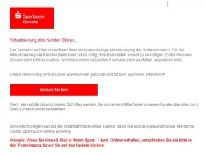 Sparkasse-Geseke-Phishing (Screenshot)