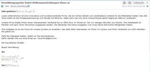Vermittlungsagentur bietet Stellenausschreibungen Ihnen an (Screenshot)