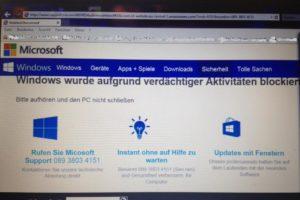 Windows-Blockierung aufgrund verdächtiger Aktivitäten