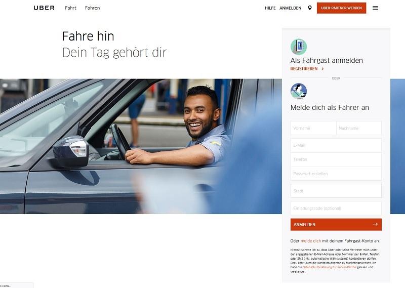 uber schweigt zum Hackerangriff (Screenshot Uber.com)
