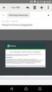 WhatsApp-Konto abgelaufen? (Screenshot einer Leserin)