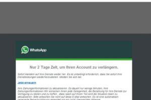 """WhatsApp: """"Nur noch 2 Tage Zeit, um Ihren Account zu verlängern."""""""