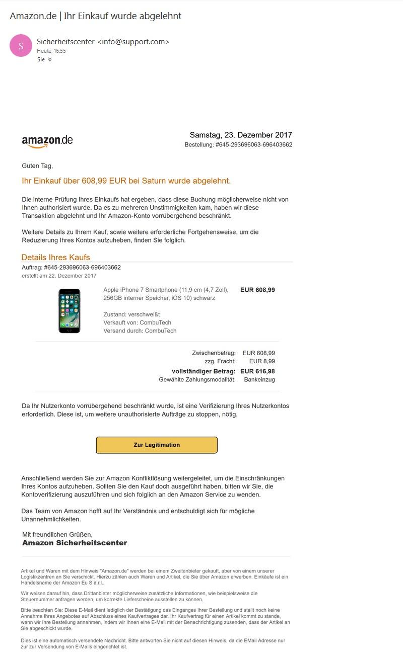 Amazon-Phishing - Ihr Einkauf wurde abgelehnt (Screenshot)
