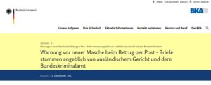 BKA warnt vor Betrug (Screenshot bka.de)