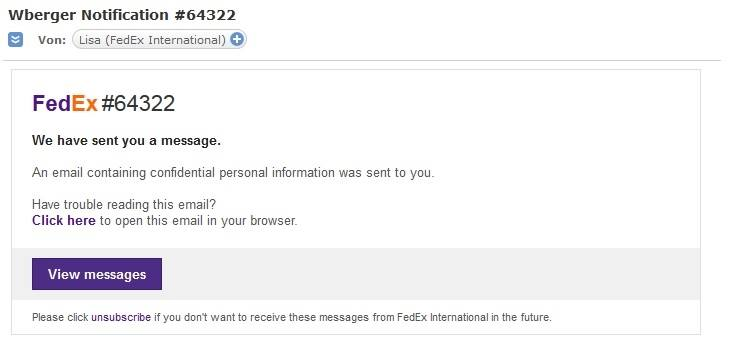 FedEx-Phishing (Screenshot eines Lesers)