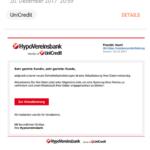 """HypoVereinsbank-Phishing: """"Aktualisierung Ihrer Daten notwendig"""""""