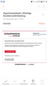 HypoVereinsbank-Phishing (Screenshot einer Leserin)