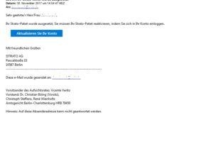 """Strato-Phishing: """"Ihr Strätö-Konto wurde ausgesetzt"""""""