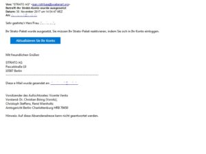 Strato-Phishing (Screenshot eines Lesers)